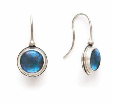 Blue Morpho Butterfly Wing Drop Earrings