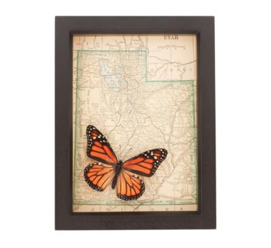 Framed Map of Utah Butterfly