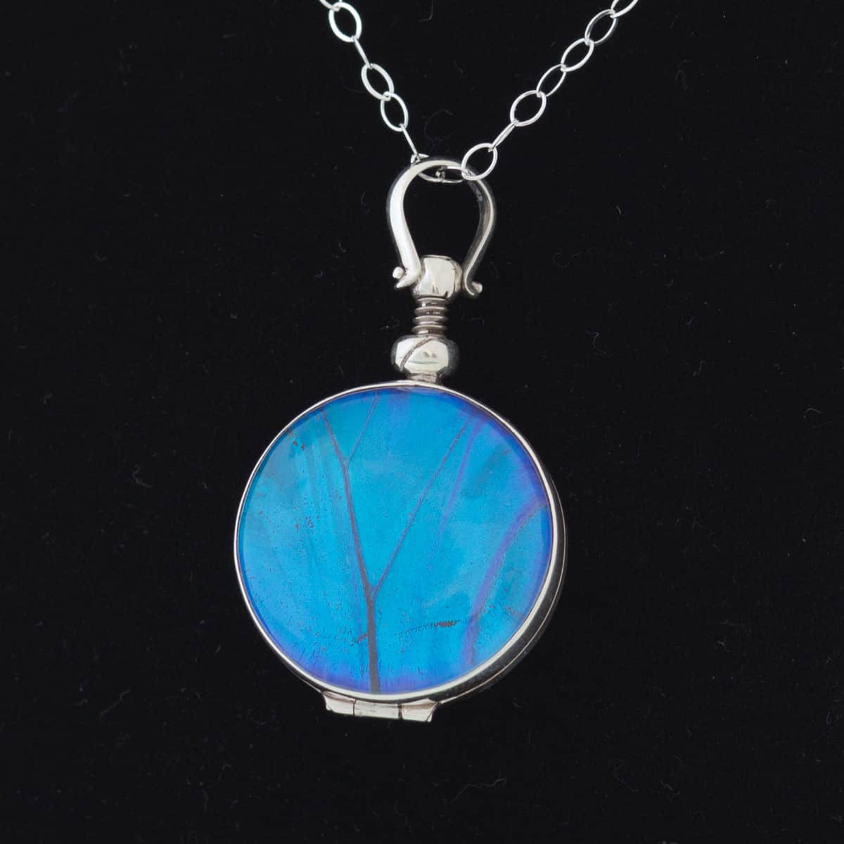 real butterfly wing necklace blue morpho