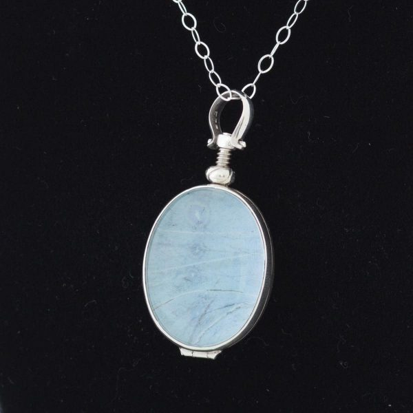 real butterfly wing necklace mint
