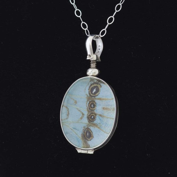 real butterfly wing necklace mint morpho