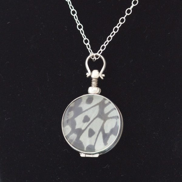real butterfly wing necklace rice paper round
