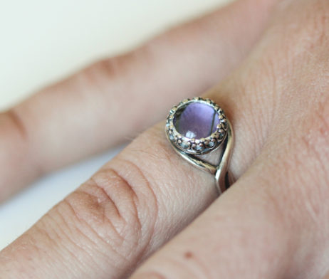 real butterfly wing ring purple