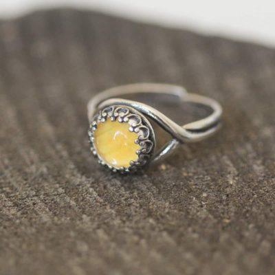 real butterfly wing ring yellow