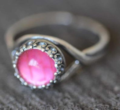 Pink Grasshopper Wing Sterling Silver Ring