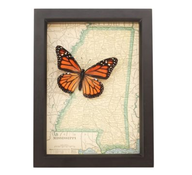 Framed Map Mississippi with Butterfly