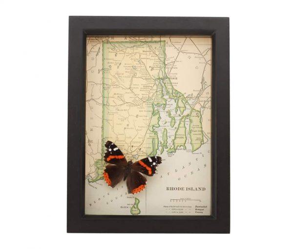 framed map rhode island