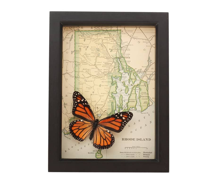 framed map rhode island