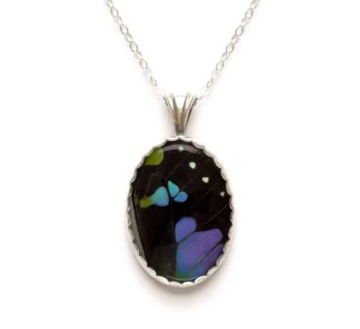 Purple Mountain Butterfly Wing Necklace