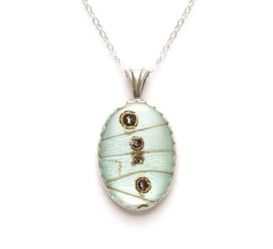 Mint Morpho Butterfly Wing Necklace