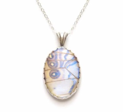 Pearl Morpho Butterfly Wing Necklace