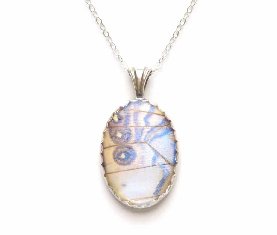 pearl morpho butterfly pendant