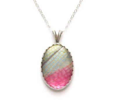 Pink Grasshopper Wing Necklace