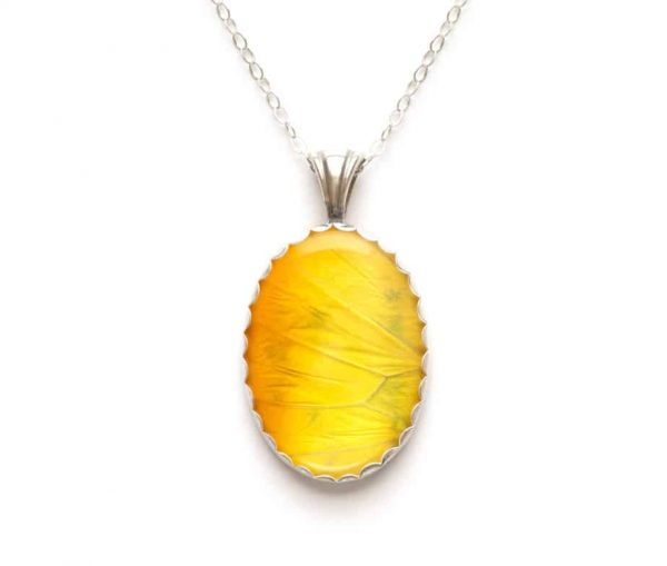 yellow butterfly wing pendant