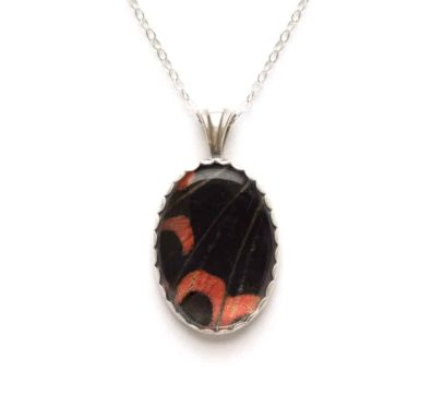 Scarlet Mormon Butterfly Wing Necklace