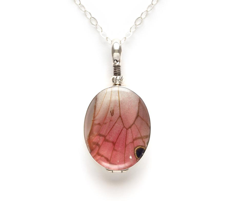 pink glasswing pendant