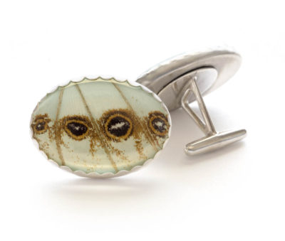 mint morpho butterfly cufflinks
