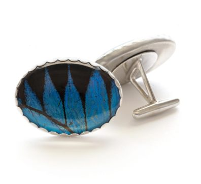 Blue Mountain Swallowtail Sterling Silver Cuff Links